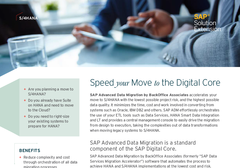 Speed your Move to the Digital Core