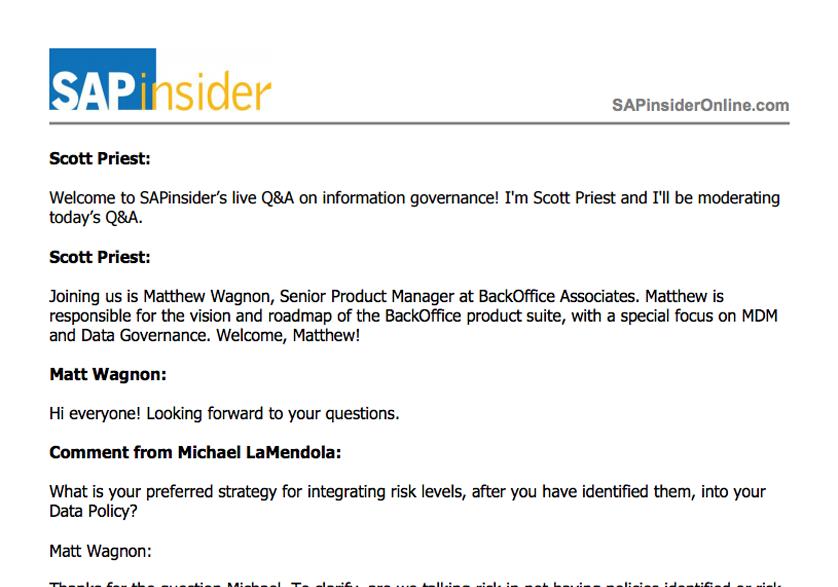 Information Governance Live Q&A Transcript