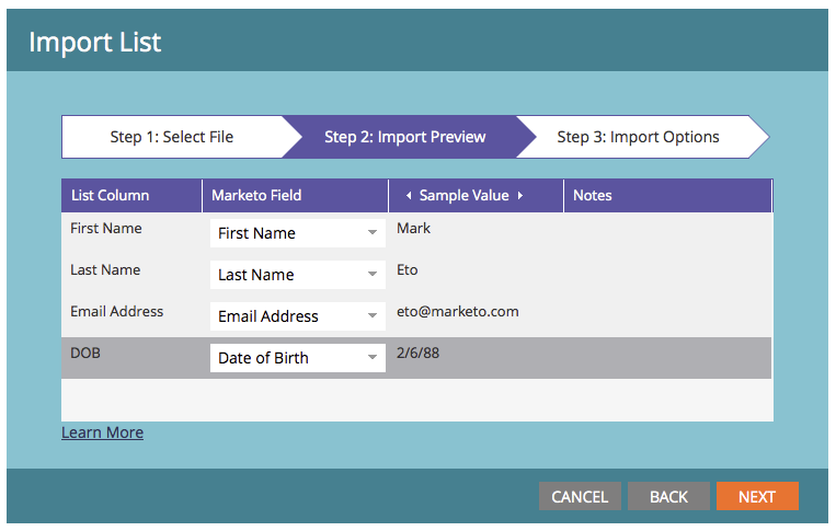 Marketo List Import Aliases