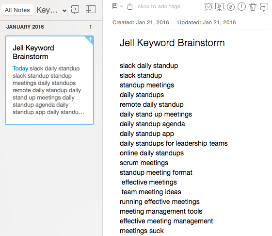 Keyword brainstorm example