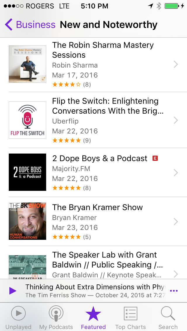 iTunes New & Noteworthy section