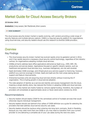 Gartner report: Market Guide for Cloud Access Security Brokers