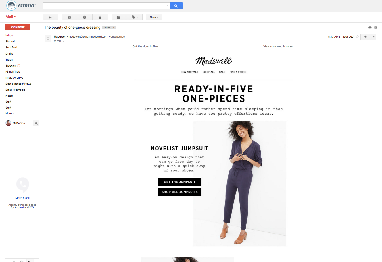 Madewell email subject line example