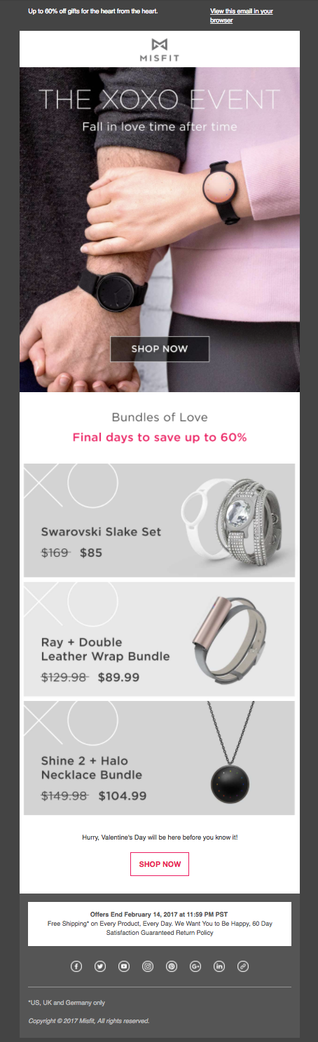 Misfit Valentine's Day Email