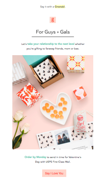 Greetabl ecommerce email example