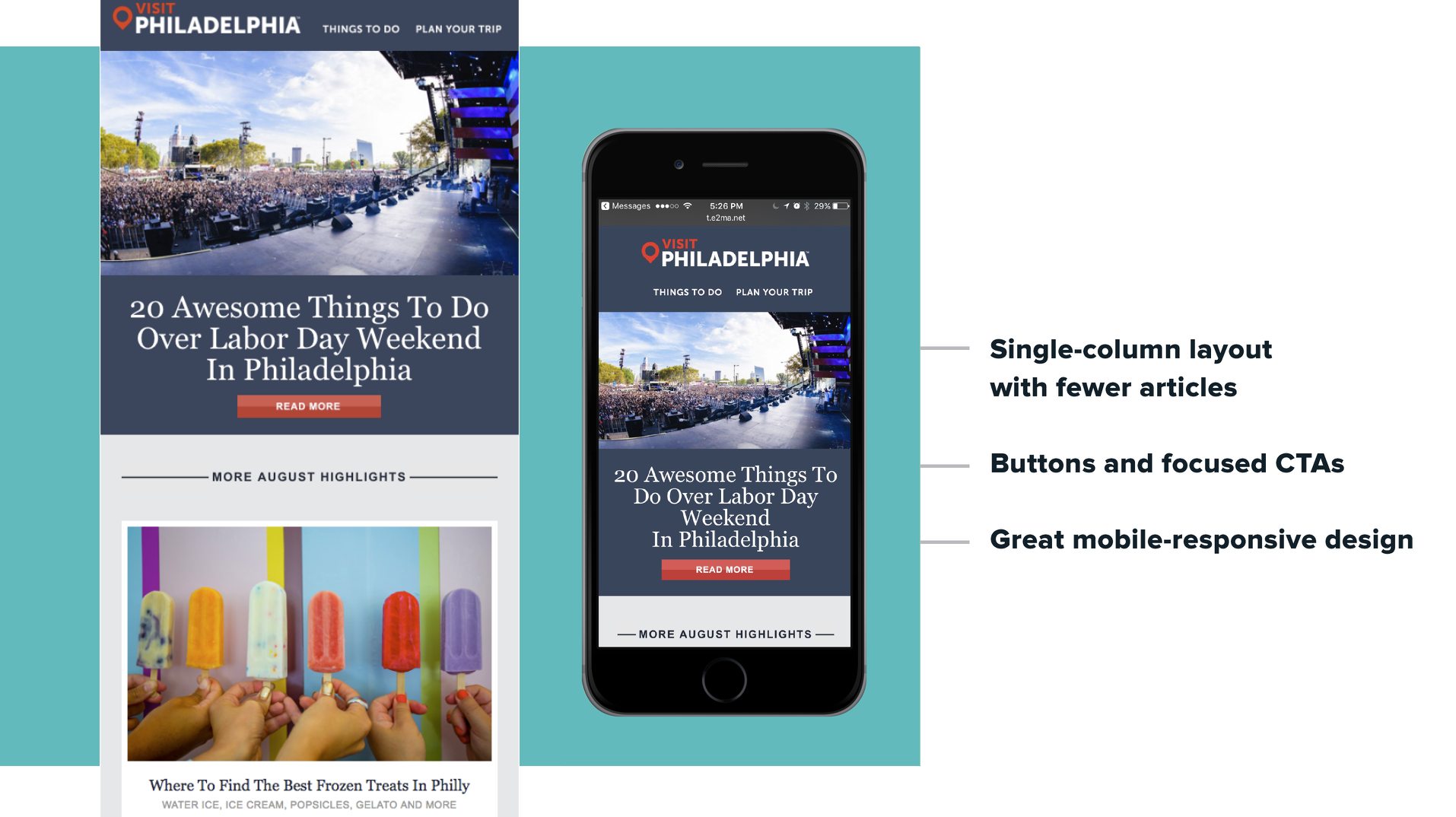 Visit Philadelphia sends a beautiful, mobile-optimized email newsletter
