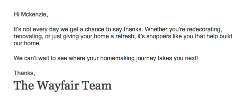 "Wayfair sends a ""thank you"" email just because"