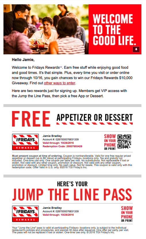 TGI Fridays welcome email