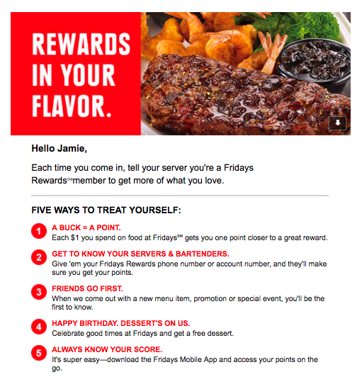 TGI Fridays email marketing example