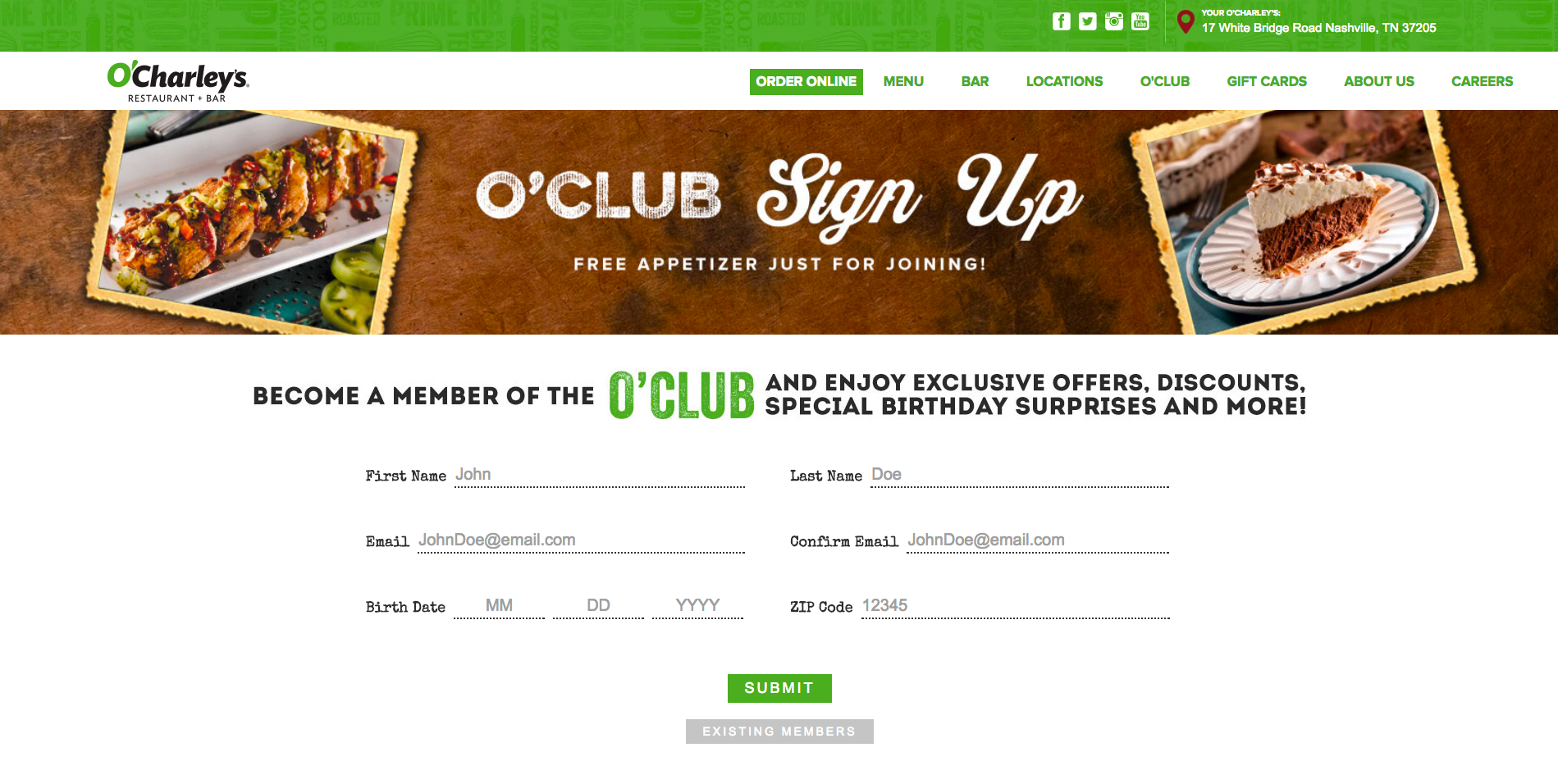O'Charley's email signup form