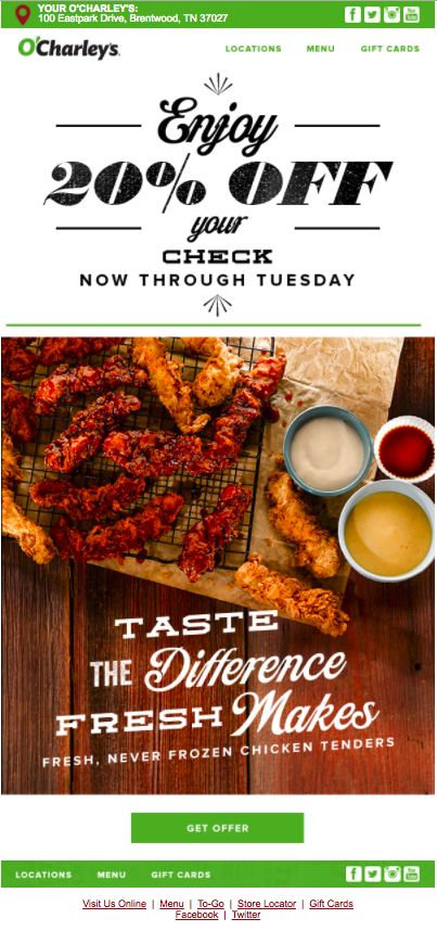 O'Charley's email marketing example
