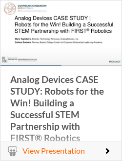 Analog Devices CASE STUDY: Robots for the Win! Building a Successful STEM Partnership with FIRST Robotics