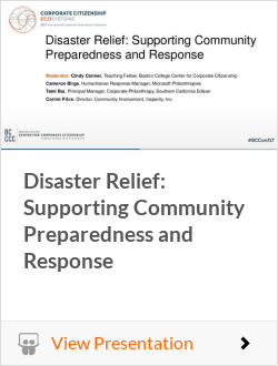 Disaster Relief: Supporting Community Preparedness and Response
