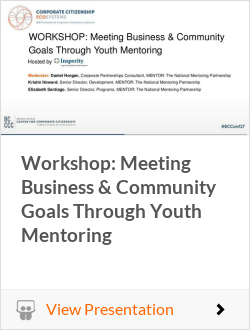 Workshop: Meeting Business & Community Goals Through Youth Mentoring