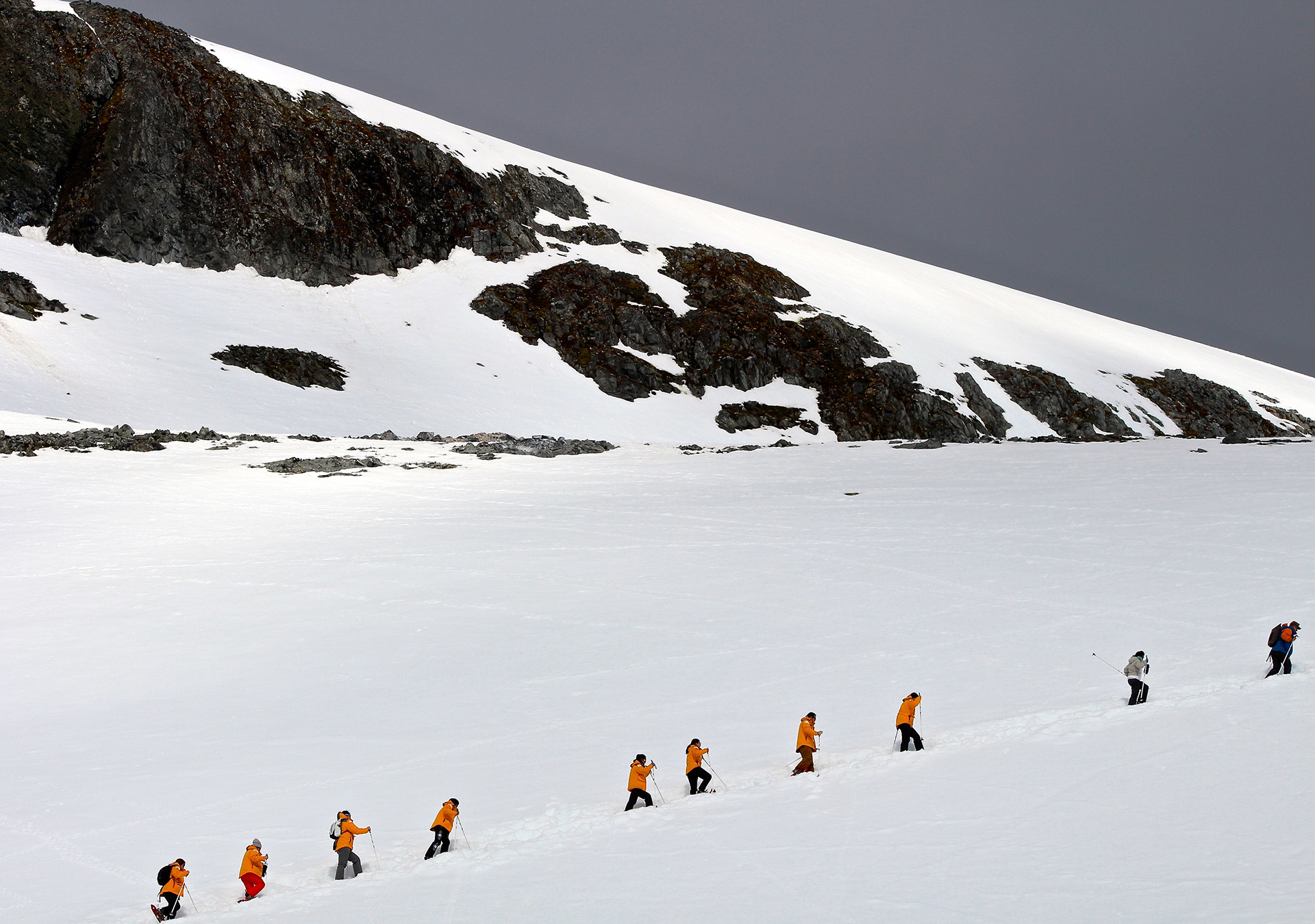 A group snowshoes up a gentle incline in the Antarctic.