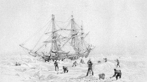 HMS Terror thrown up by ice