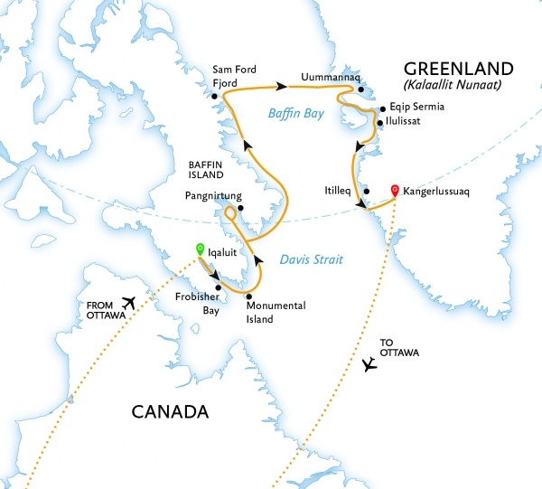 Canada to Greenland Baffin Bay Explorer expedition itinerary map