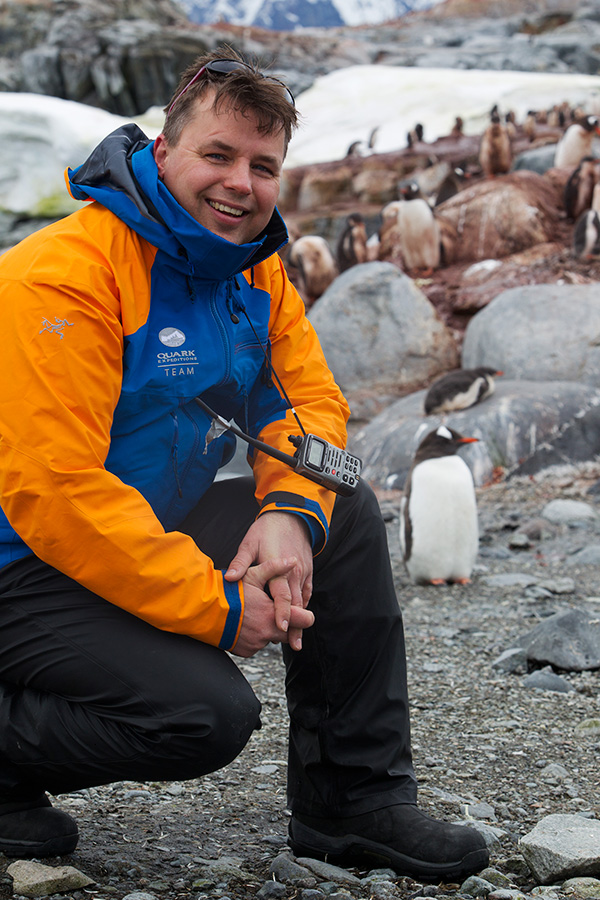 Hans gets up close and personal with some penguins