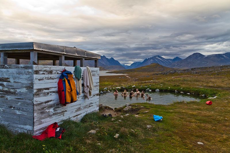 Bathing in the hot springs at Uunartoq in South Greenland