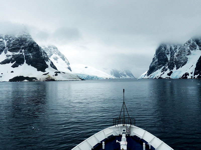 The view from the bridge: entering the Lemaire Channel on polar expedition in Antarctica.