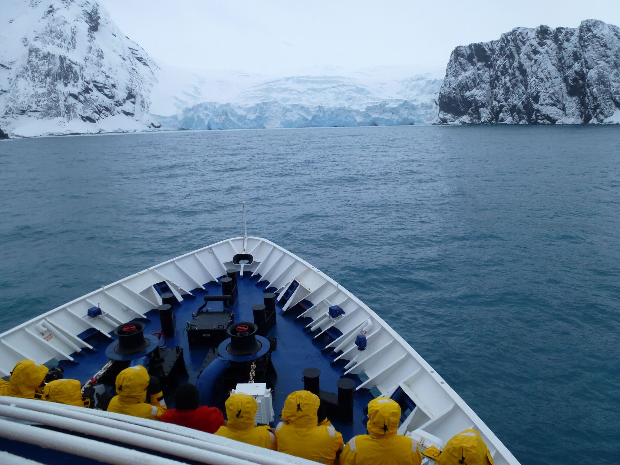 Quark Expeditions Sea Spirit approaching Point Wild, Antarctica