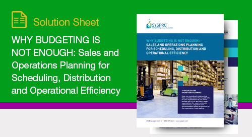 Why Budgeting is NOT Enough: Sales and Operations Planning for Scheduling, Distribution and Operational Efficiency