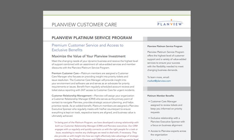 Planview Platinum Service Program