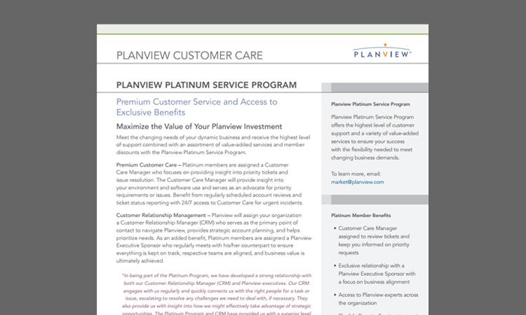Planview Platinum Service Program