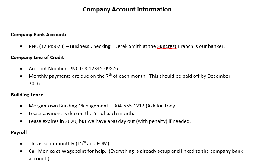 List your business accounts