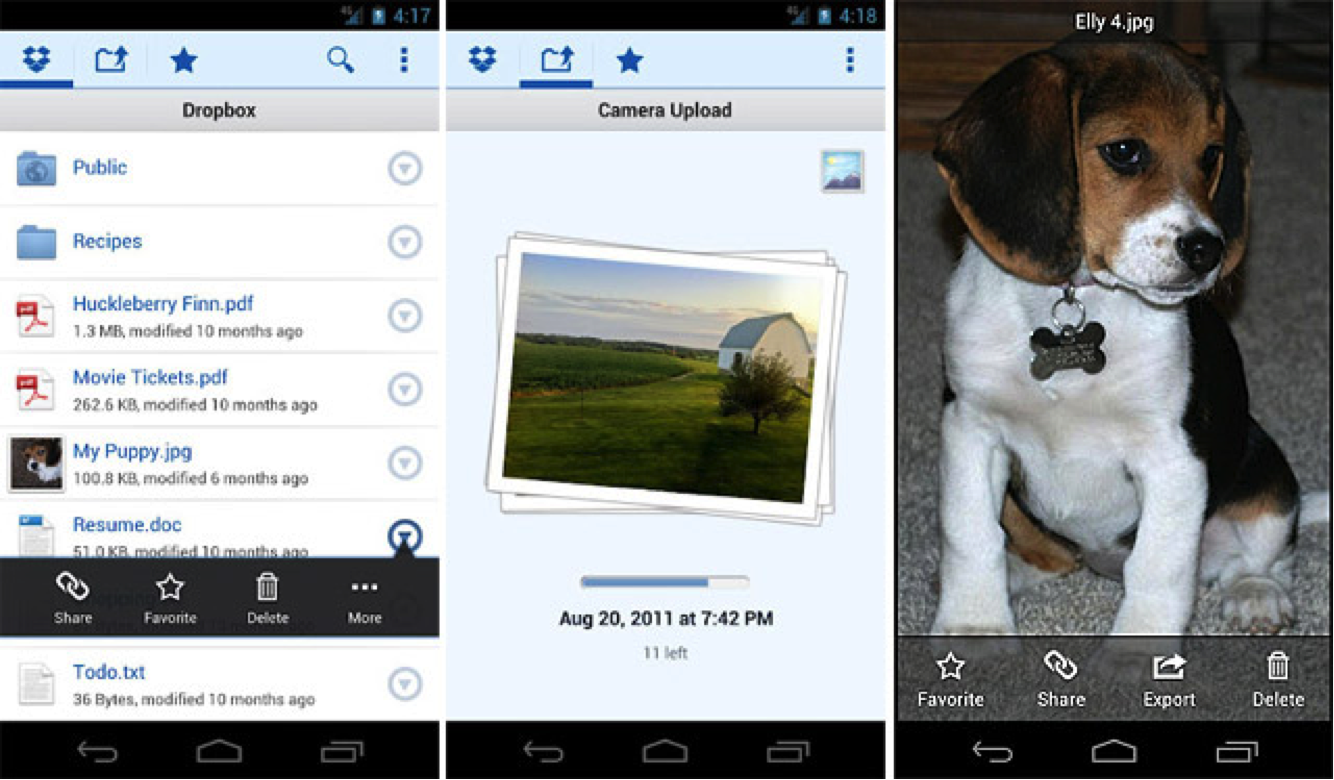 Dropbox file sharing app