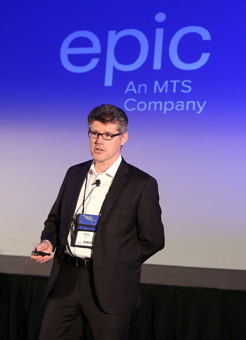 EPIC Information Solutions director of technology Doug Scott addresses the crowd at EPIC Tech Day at the Victoria Inn Hotel & Convention Centre.