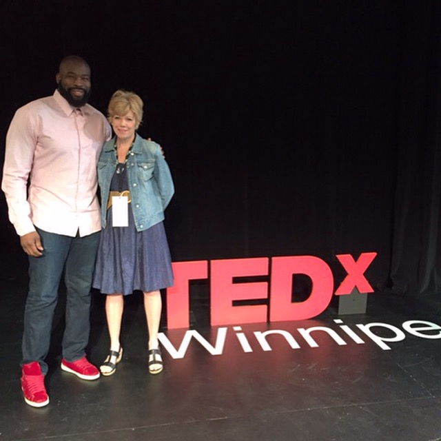 Israel Idonije and Marney Stapley at TEDxWinnipeg