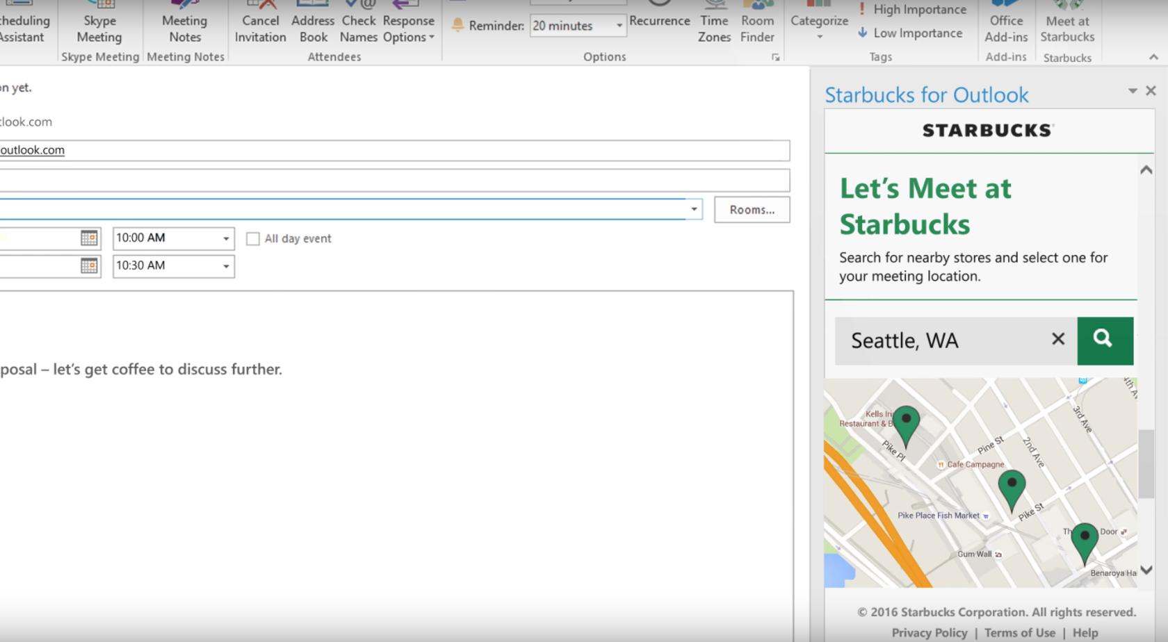 Starbucks Outlook add-in