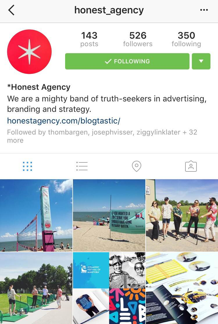 Honest Agency instagram