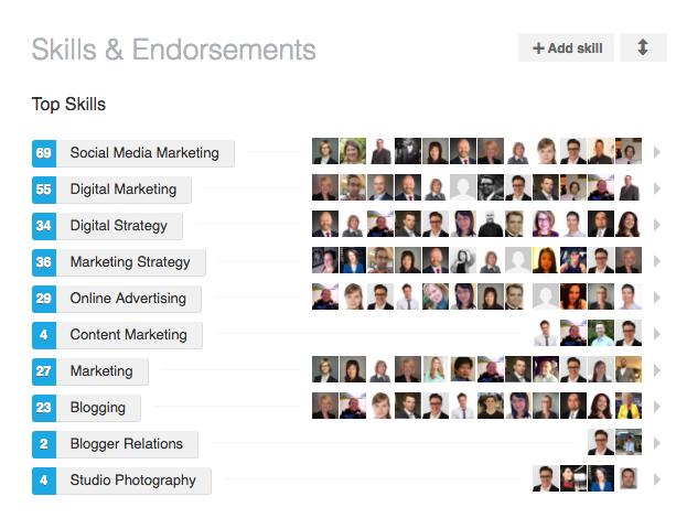 LinkedIn Sills and Endorsements