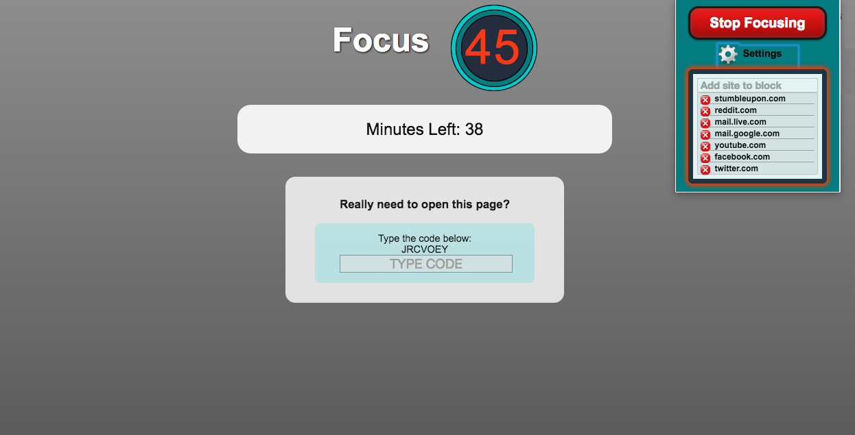 Focus 45 chrome extension distraction