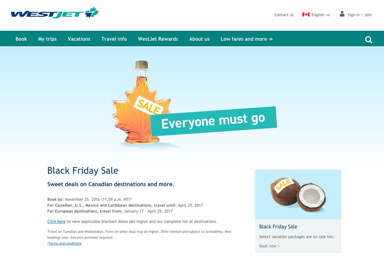WestJet Black Friday deals