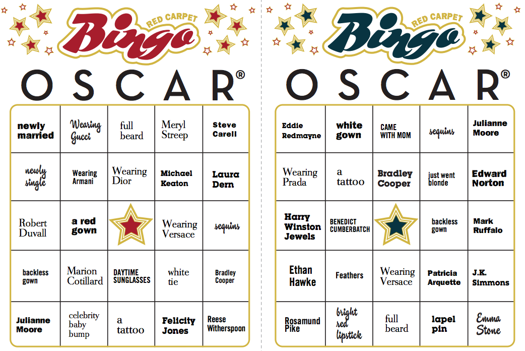 Oscar Red Carpet Bingo Cards