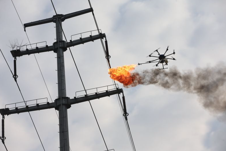 drone shoots fire