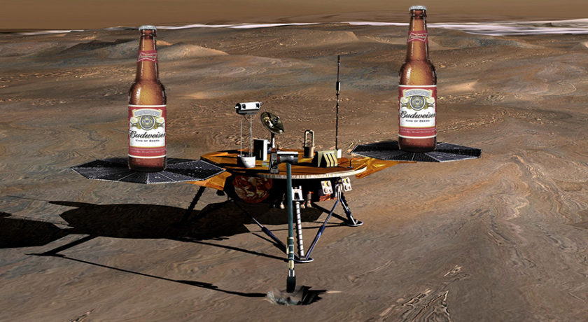 Budweiser on Mars in space