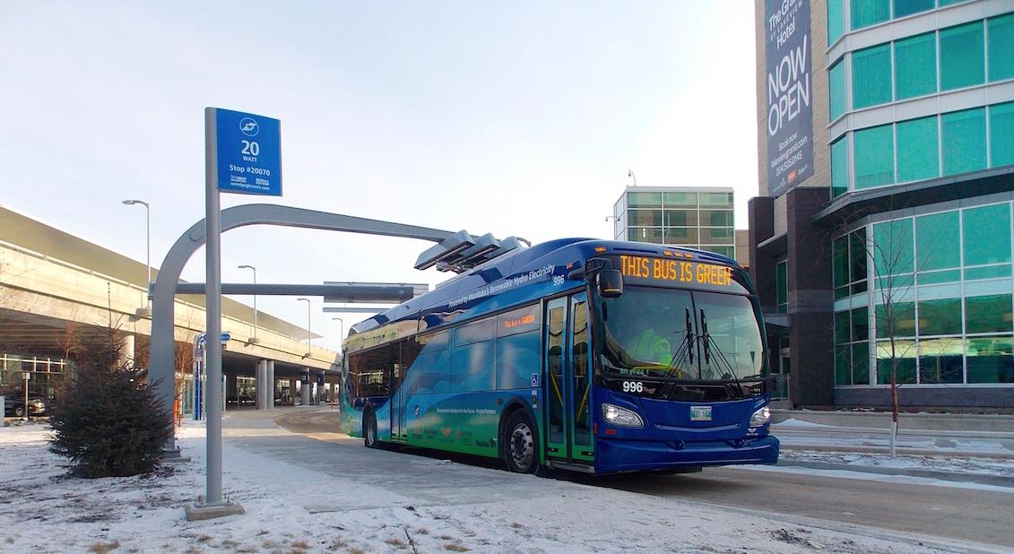 Winnipeg Transit electric bus on street