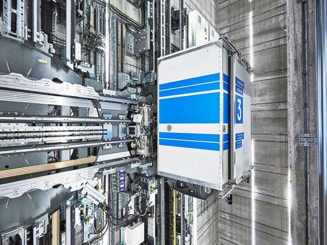 Futuristic elevator moves sideways