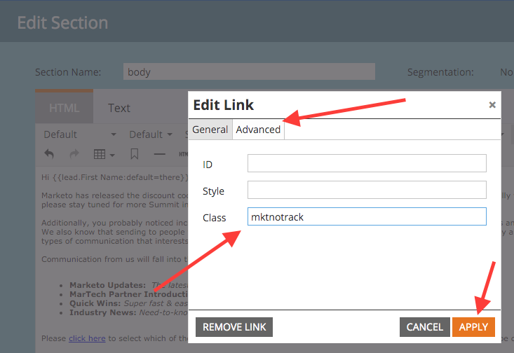 remove track links in Marketo