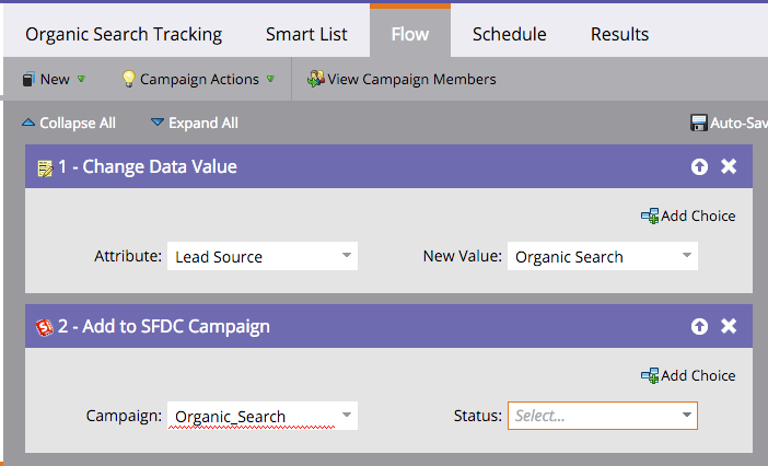 Lead source organic search marketo