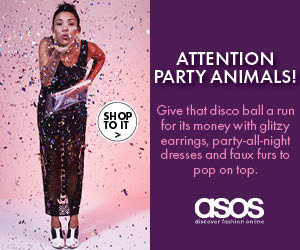 ASOS Christmas banner ad with women in party dress