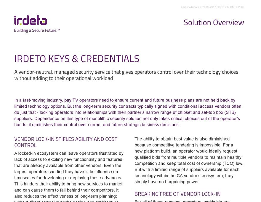 Solution overview: Irdeto Keys & Credentials
