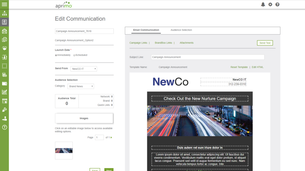 Customize and send To-Partner Communications to the local level in Aprimo Distributed Marketing