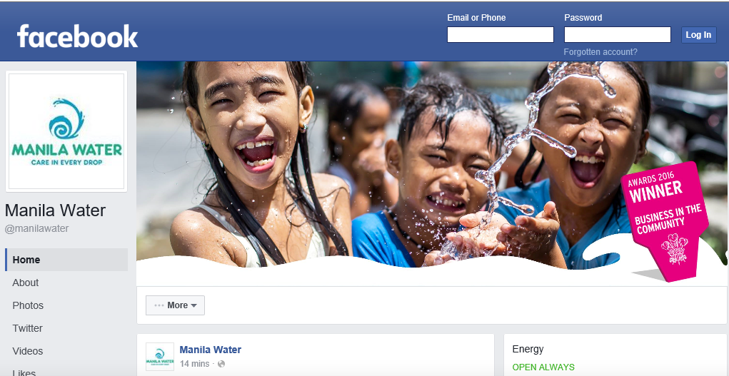 Manila Water Company's Facebook page