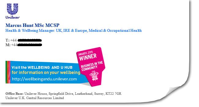 Unilever email signature
