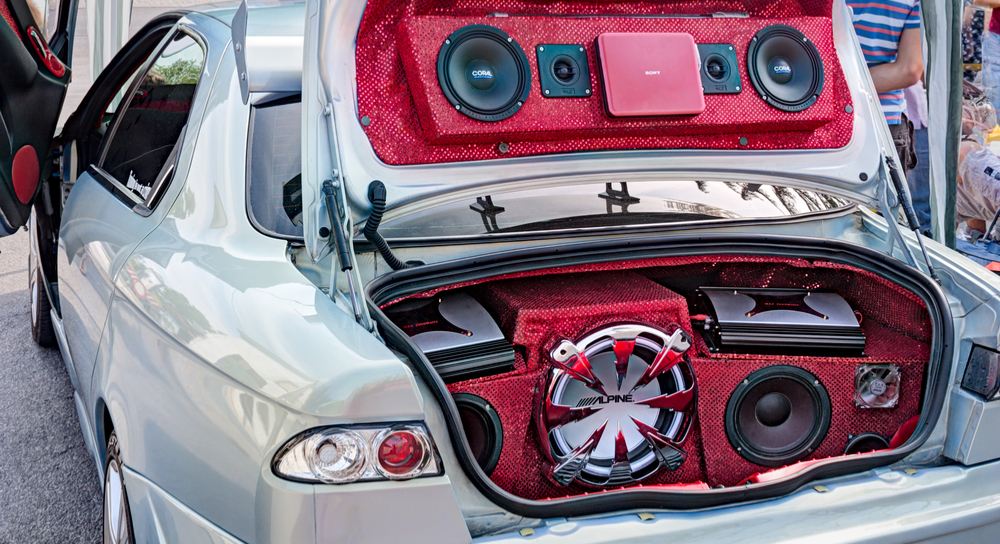 Speakers in the trunk of a car